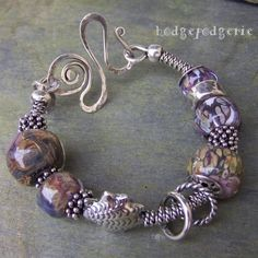 Sterling Silver and Lampwork Bangle by Hodgepodgerie
