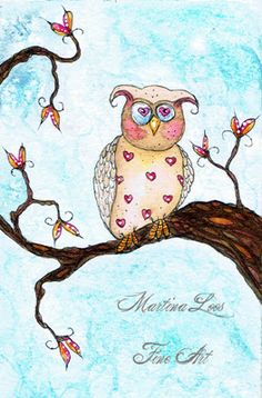 Owl Fantasy Watercolor painting by Martina Loos