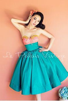 Le palais vintage retro 1950 2 piece fullskirt ball gown skirt bustier spring set suit