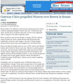 South Coast Today - Gateway Cities propelled Warren over Brown in Senate race