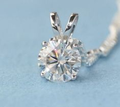 """Women/'s 1.00Ct Round Moissanite Pendant 14K Yellow Gold Over Solitaire Charm 18/"""""""