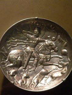 Iranian Silver plate with Royal Hunting Scene Sasanian Period 5th century CE