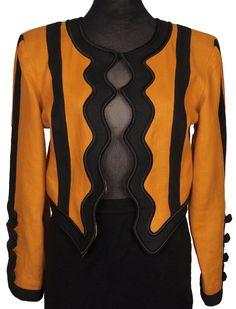 1980s Yves Saint Laurent Rive Gauche Orange Linen Dress Jacket Ladies Size S / M