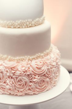 Glamorous Blush Wedding Ideas to Inspire - wedding cake idea; Blush Wedding Photography