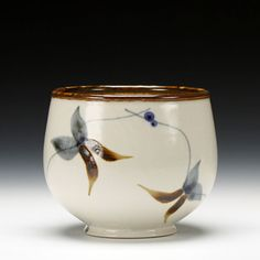 Sam Scott    Description:  porcelain, iron and cobalt brush work with clear glaze