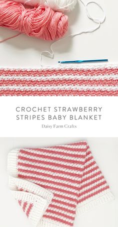 Free Pattern - Crochet Strawberry Stripes Baby Blanket by denise. Crochet Baby Blanket Free Pattern, Crochet Baby Blanket Beginner, Crochet 101, Crochet Daisy, Crochet Bebe, Crochet Baby Booties, Baby Knitting, Free Crochet, Crochet Blankets