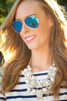 The perfect Spring outfit idea. love this navy stripe tee, statement necklace and blue mirrored aviator sunglasses! Cheap Ray Bans, Cheap Ray Ban Sunglasses, Sunglasses Store, Mirrored Aviator Sunglasses, Cat Eye Sunglasses, Teen Fashion, Fashion Outfits, Fashion Weeks, Runway Fashion