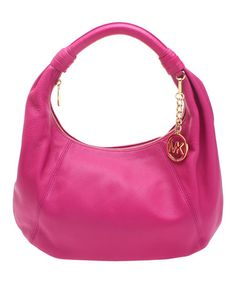Look at this #zulilyfind! Fuchsia Item Leather Hobo by MICHAEL Michael Kors #zulilyfinds