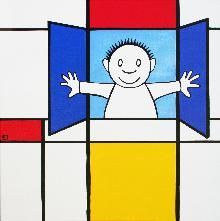 """Expositie """"Knipoog naar Mondriaan''  Nice way to work with Mondriaan in class!"""