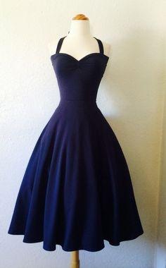 The Cherrybomb Halter Dress in Navy Blue, ROCKABILLY Ink Blue Pinup Semi Formal Knit Dress, Dark Blue Pin Up Bridesmaid Dress