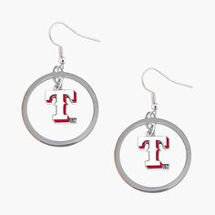 Aminco MLB Texas Rangers Floating Logo Hoop Earring Set