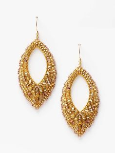 Miguel Ases Metallic Pointed Open Teardrop Earrings 14K yellow gold fill, metallic topaz bead, and Miyuki bead pointed open teardrop earrings 3 inches long 1¼ inches at widest point Fishhook closure Material: 14K yellow gold fill and glass Brand: Miguel Ases Origin: United States