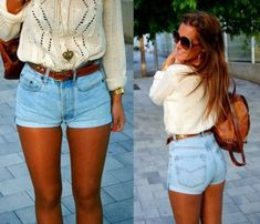 shorts fashforfashion white sweater brown belt pinterest jeans high waisted jean shorts light wash tight shorts sweater bag