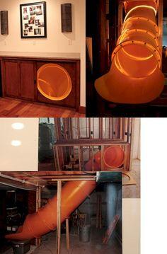 Indoor Slides, Indoor Slide Stairs, House Slide, Basement Remodeling, Bedroom Remodeling, Remodeling Ideas, Dream Rooms, Cool Rooms, Awesome Bedrooms