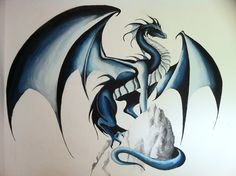 I painted this blue dragon for my baby brother on his bedroom wall. It's 3m wide :)