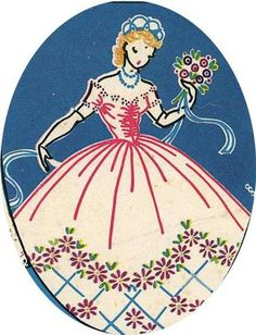 Vogart 222 Colonial Lady, Southern Bell for Pillow cases & linens. A 1940s hand embroidery pattern.