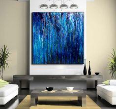Arte abstracto azul Original gran pintura abstracta