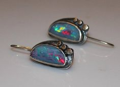 A kaleidoscope for the earlobes. Coober Pedy opals by www.myfascinationstreet.etsy.com