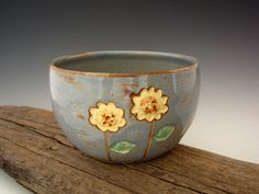 Pottery Bowl in Rustic Blue:  Yellow Sunflower - Wheel Thrown Pottery - by DirtKicker Pottery. $25.00, via Etsy.