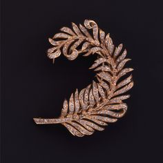 French 18K yellow gold and diamond feather brooch circa 1860.