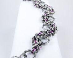 Chainmaille Bracelet - Purple Byzantine Snake Style
