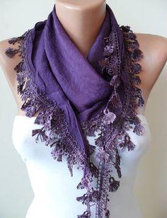 Purple ShawlScarf with Lace Edge  Silky by SwedishShop on Etsy, $15.90
