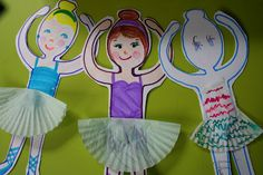 Ballerina Paper Dolls With Cupcake Wrapper Skirts