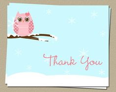 Winter Owl Baby Shower Thank You Notes by TheInviteLadyShop, $18.00