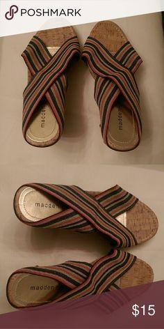 Madden Girl Criss Cross Sandels Madden Girl criss cross multi colored wedges. Never worn. Madden Girl Shoes