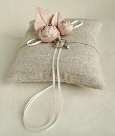 linen and blooms ring bearer pillow