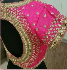 40 Latest Maggam Work Blouse Designs for : Images & Catalogue - crailtous. Mirror Work Saree Blouse, Cut Work Blouse, Stone Work Blouse, Mirror Work Blouse Design, Wedding Saree Blouse Designs, Blouse Designs Silk, Latest Maggam Work Blouses, Kurti Embroidery Design, Hand Embroidery