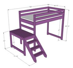 Camp Loft Bed with Stair, Junior Height. frankenbuild with other loft bed plans to make taller, full sized, with stairs. Loft Bed Stairs, Bunk Beds With Stairs, Loft Beds, Loft Twin Bed, Build A Loft Bed, Loft Bed Plans, Casa Kids, My New Room, Diy Furniture