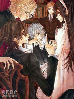 Takuma Ichijo,Kuran Kanme (aww my lord *-*♥),Yuuki Kuran,Aidou Hanabusa and Zero Kiryuu.From Vampire Knight *-*