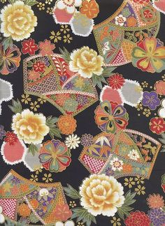 Asian Quilts, Fabric Print Design, Asian Fabric, Wave Design, Japanese Fabric, Peonies, Black Gold, Printing On Fabric, Color Schemes