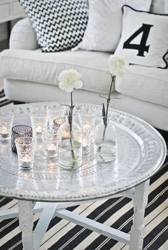 ❥ silver tray with candles, and black and white-a flexible background to add seasonal pops of color
