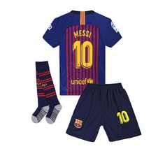 9c2f85b9a Barcelona Messi 10 Home Kids&Youths Soccer Jersey Shorts Socks Color  White&Blue 13-14 Years Old(Size 28) - CE18L463IS4
