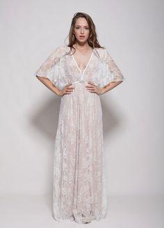 Bohemain lace wedding dresslow back lace train by Barzelai