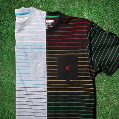 Equipment For Life's Journey  Research Collection Striped Knit Tee in Ash Heather & Black - Available now at L-R-G.com  #LRG