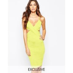 NaaNaa Cross Front Body-Conscious Midi Dress With Cut Out Back ($51) ❤ liked on Polyvore featuring dresses, black, midi cocktail dress, cut out back dress, black cut out dress, bodycon dress and black cocktail dresses