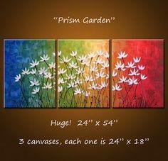 Kunst schilderij drieluik originele grote abstracte schilderij moderne bloemen Wall Decor regenboogkleuren... 24 x 54... Prisma tuin