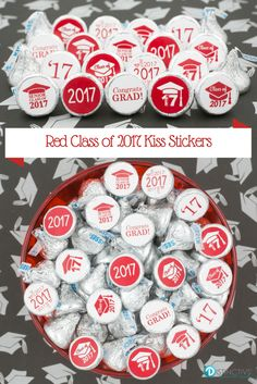 Add these Red Class of 2017 Graduation Party Favor Stickers to a Hershey's Kiss for a simple and easy party favor or table decoration!