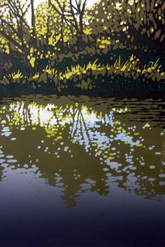 ARTFINDER: Oxford Canal at Kirtlington by Alexandra Buckle - A reduction linocut of reflected trees in the canal at Kirtlington Quarry. A reduction print is a relief print formed with layers of colour that are cut a. Woodcut Art, Linocut Prints, Art Prints, Block Prints, Landscape Art, Landscape Paintings, Landscapes, Woodblock Print, Painting Inspiration