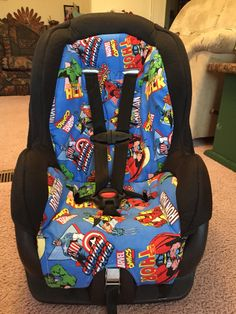 Recovered old car seat to match super hero theme baby room. Love love it. Even though it's a pain in the butt..