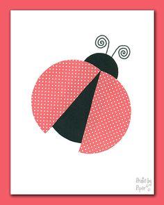 Red & Black Ladybug, 8x10 or 5x7 Print, Girls Bedroom, Kids Bathroom Prints, Nursery Decor, Kids Wall Art, Girls Nursery, Lovebug, Polka Dots