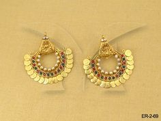 MAA LAXMI IN BROAD STYLE COIN TEMPLE EARINGS