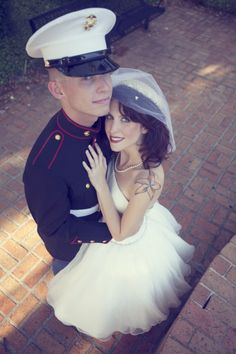 A 1940′s Military Themed Wedding.  I can envision this as my wedding, Marine by my side and all.  Love it.
