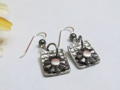 Rectangle Gun Metal Earrings, Handmade in Michigan, ExpressionsStamped Jewelry, Gifts under $20