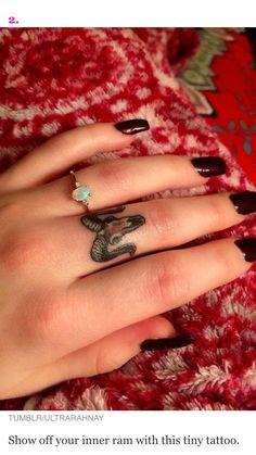 Cute Aries tattoo on finger