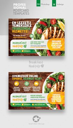 Buy Healthy Food Postcard Templates by grafilker on GraphicRiver. Healthy Food Postcard Templates Fully layered INDD Fully layered PSD 300 Dpi, CMYK IDML format open Indesign or l. Postcard Template, Postcard Design, Healthy Nutrition, Healthy Recipes, Healthy Food, Healthy Life, Creative Poster Design, Photo Link, Superfood