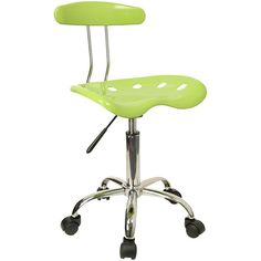 Vibrant Apple Green and Chrome Computer Task Chair with Tractor Seat LF-214-APPLEGREEN-GG by Flash Furniture